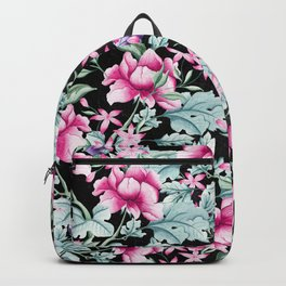 Floral Pattern 1 Black Backpack