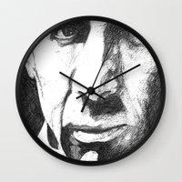nicolas cage Wall Clocks featuring Nicolas Cage by DeMoose_Art