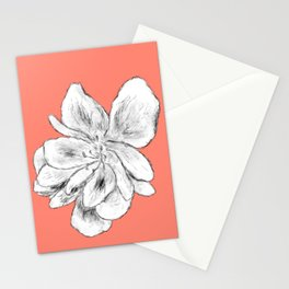 Sketchy Malva Flower Drawing (orange back) Stationery Cards
