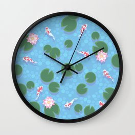 Japanese Neck Gator Koi Pond Lily Pad Japanese Pattern Wall Clock