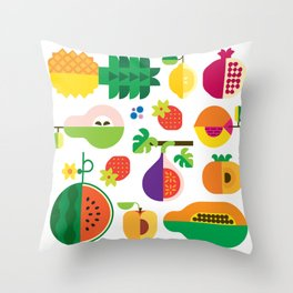 Fruit Medley White Throw Pillow