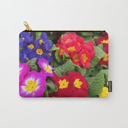 Colorful Springtime Medley of Primulas Carry-All Pouch