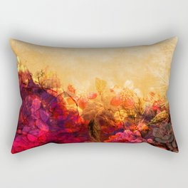 LOVELY FLOWERS ARE KISSING A YELLOW FIELD II Rectangular Pillow