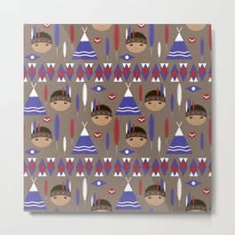 Seamless kids cute American indian native retro background pattern Metal Print