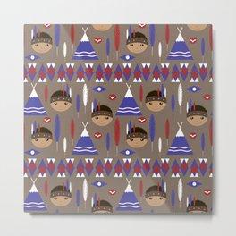 Seamless kids cute American indian native retro background pattern Metal Print