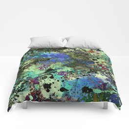 Deep In Thought - Black, blue, purple, white, abstract, acrylic paint splatter artwork Comforters