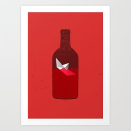 Red Bottle Art Print