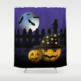Halloween Pumpkins Black Cat Moon and Bats Shower Curtain