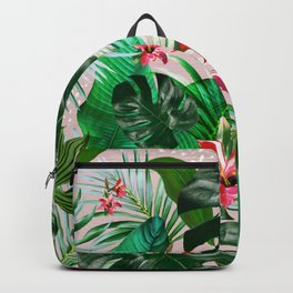 Tropical palm leaf with red flowers Backpack