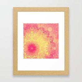 Mandala in Rose and Lemon Framed Art Print