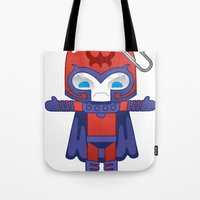 magneto Tote Bags featuring MAGNETO ROBOTIC by We Are Robotic