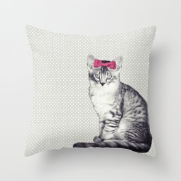 Cat with a Bow Throw Pillow