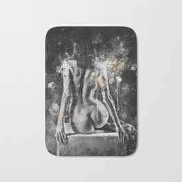 abstract watercolor nude figure painting Bath Mat