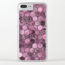 Pink & purple geometric hexagonal elegant & luxury pattern Clear iPhone Case