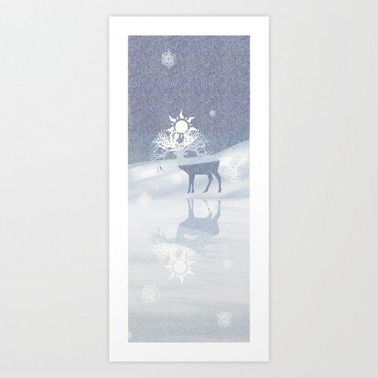 a deer with nine horns is bringing back the sun~ illustration  Art Print