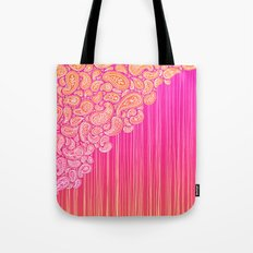 The Unraveling of Paisley Lace (in ombre pink and gold) Tote Bag