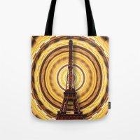 eiffel tower Tote Bags featuring Eiffel Tower by Elena Indolfi