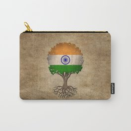 Vintage Tree of Life with Flag of India Carry-All Pouch