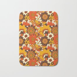 Retro 70s Flower Power, Floral, Orange Brown Yellow Psychedelic Pattern Bath Mat