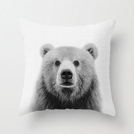 Brown Bear Black&White Throw Pillow