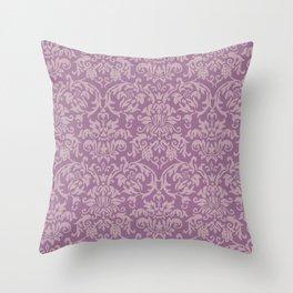 Elegant Damask Pattern (purple) Throw Pillow