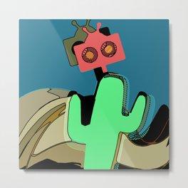Robot Hiding Behind A Cactus Metal Print