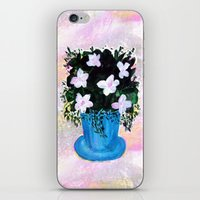 Blue Vase with Foliage and White Flowers iPhone & iPod Skin