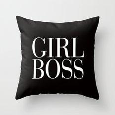 Girl Boss Black Vogue Typography Throw Pillow
