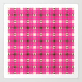 Pink tartan pattern Art Print
