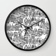 Doctor Who Toile de Jouy | 'Walking Doodle' | Black Wall Clock