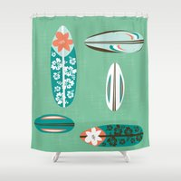 surfboard Shower Curtains featuring Retro Hawaiian Surfboard by Vanillabeandesigns