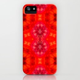 Red agate with a geometric kaleidoscopic design iPhone Case