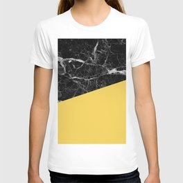 Black Marble and Primrose Yellow Color T-shirt