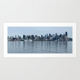 Drink at the Seattle Skyline Art Print