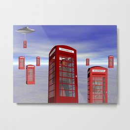 Alien London Phone Box Abduction Metal Print