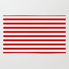 Red and White Stripes Rug