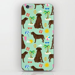 Chocolate Lab labrador retriever dog breed beach summer vacation dog gifts iPhone Skin