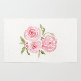 Christmas Rose-watercolor Rug