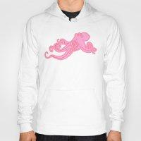 preppy Hoodies featuring Kawaii steampunk octopus kraken squid sea monster vintage takoyaki cute pink preppy nautical print by iGallery