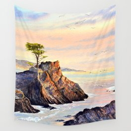 Lone Cypress Tree Pebble Beach California Wall Tapestry