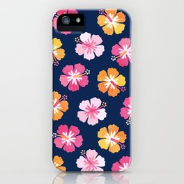 CANDY COLORED HIBISCUS on NAVY iPhone Case