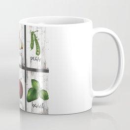 Rustic White Wood Herbs & Garden Vegetables Coffee Mug