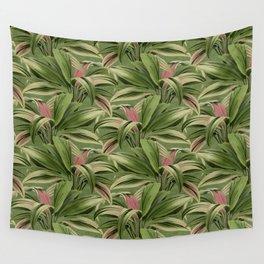 Cordyline Princess Margaret Watercolor Green Pattern Wall Tapestry
