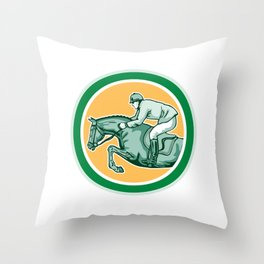 Equestrian Show Jumping Side Circle Retro Throw Pillow