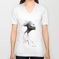 afro V-neck T-shirts featuring Afro by Vito Quintans