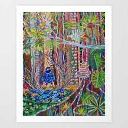 Satin Bowerbird woos his Mate Art Print