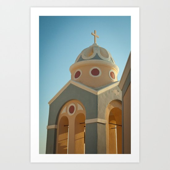 Greek island chapel Art Print