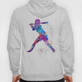 Girl Baseball Softball Batter Watercolour Sports Art Colorful Baseball Print Hoody