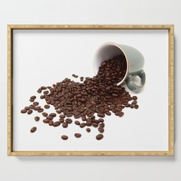 Rich brown coffee beans spilled from a mug Serving Tray