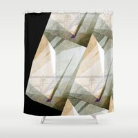 bicycles Shower Curtains featuring The bicycles by dominiquelandau